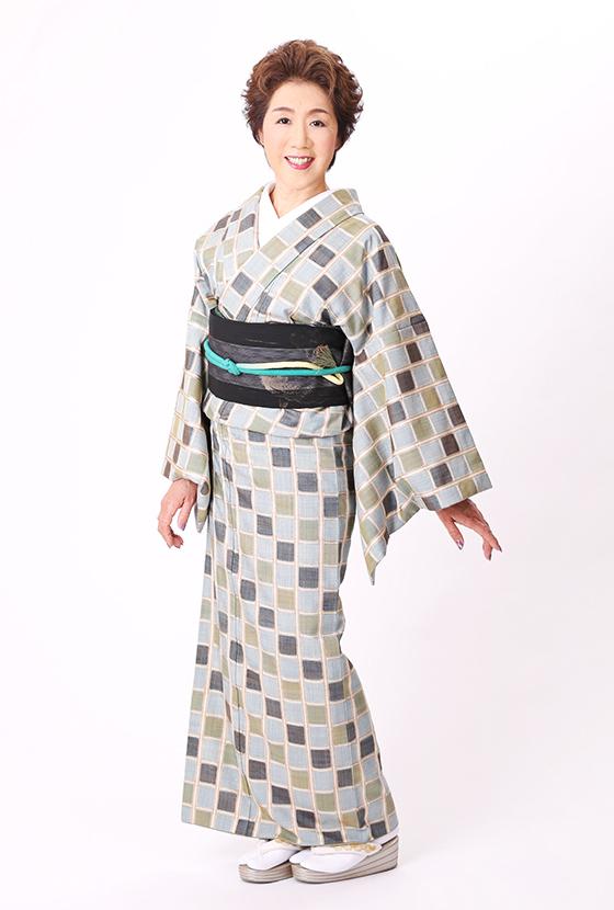 吉野間道 錦霞 染料全て植物染料色が遺憾なく発揮された一松多色織りの着物